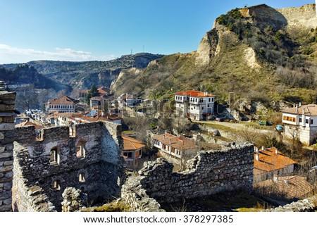 Ruins of Byzantine fortress and Panorama to Melnik town, Blagoevgrad region, Bulgaria - stock photo