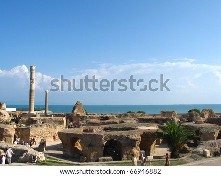 Ruins of Carthage and view to Mediterranean sea - stock photo
