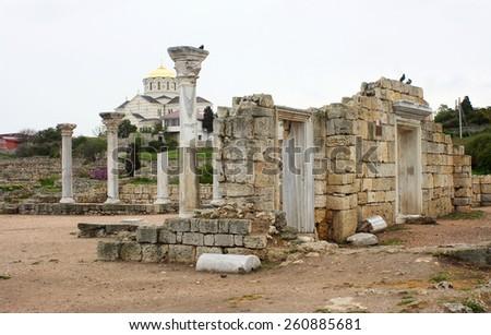 ruins of Chersonese, Sevastopol, Crimea, Ukraine. (VI centuries B.C.)  - stock photo