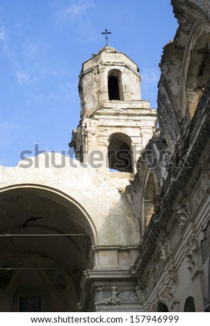 Ruins of church destroyed by earthquake  (Bussana-Imperia, Italy)  - stock photo
