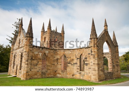 ruins of church in port arthur historic jail (Tasmania, Australia) - stock photo
