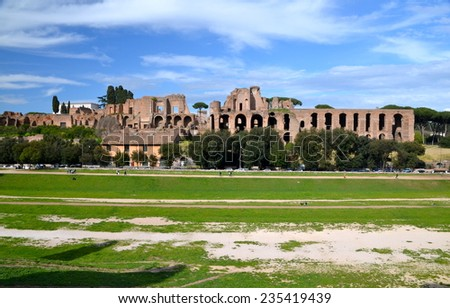 Ruins of Circus Maximus and the Domus Augustana in Rome - stock photo