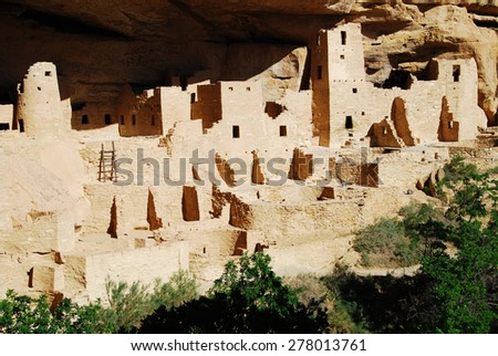 Ruins of Cliff Palace Mesa Verde National Park, CO, USA. Mesa Verde was inhabited by the Ancestral Pueblo people from AD 600 to 1300.  - stock photo