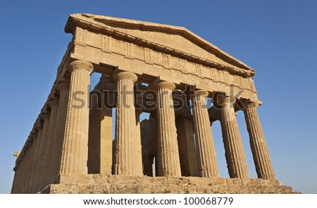 Ruins of Concord temple in Sicily.