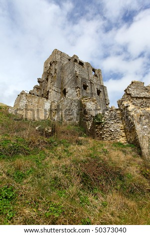 Ruins of Corfe Castle in Swanage Dorset England