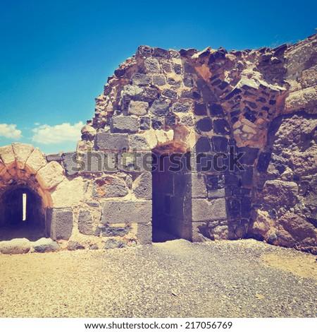 Ruins of  Crusader Fortress Belvoir in Lower Galilee, Israel, Instagram Effect - stock photo