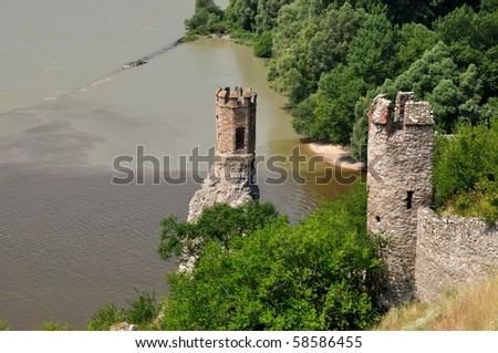 Ruins of Devin castle in Slovak Republic - stock photo