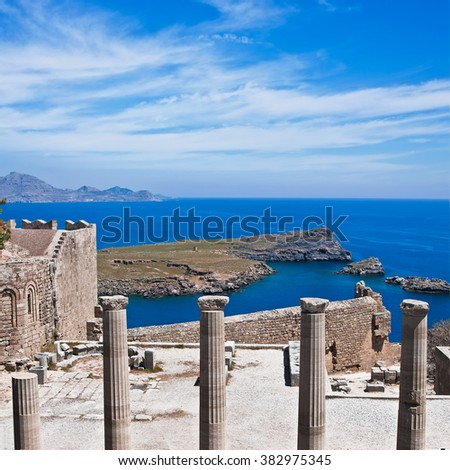 Ruins of Doric Temple of Athena Lindia. Lindos Acropolis, Rhodes island. Greece.  - stock photo