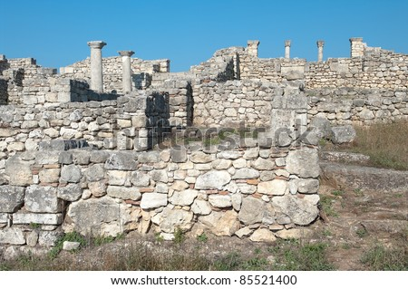 ruins of episcopal complex in ancient city of Byllis, Albania