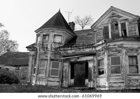 Ruins of expensive house in Maine, USA - stock photo