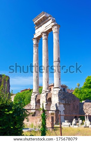 Ruins of famous ancient Roman Forum in Rome, Italy - stock photo