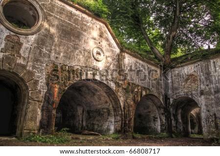 Ruins of fort Salis-Soglio in Przemysl,  Poland - stock photo