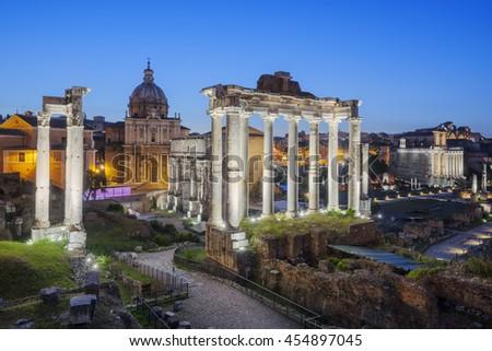 Ruins of Forum Romanum on Capitolium hill in Rome, Italy - stock photo