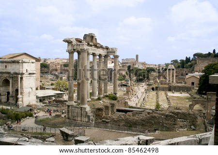 Ruins of Forum Romanum, view from Capitolium Hill, Rome, Italy - stock photo