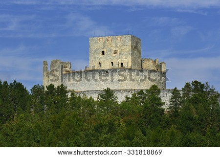 Ruins of gothic castle Rabi in National Park Sumava. Medieval monument in Czech Republic. Central Europe. - stock photo