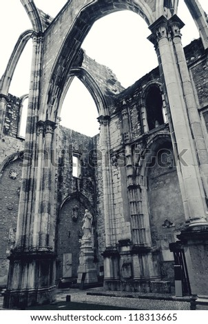 Ruins of gothic Convent (Igreja do Carmo) are the main trace of the great earthquake still visible in the city. - stock photo
