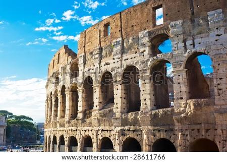 Ruins of great stadium Colosseum, Rome, Italy - stock photo