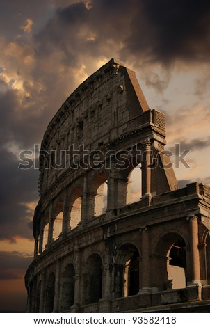 Ruins of great stadium Colosseum, Rome, Italy - stock photo