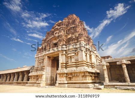 Ruins of Hampi, a UNESCO World Heritage Site, India. - stock photo