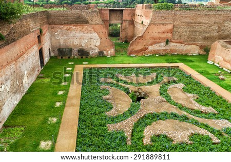 Ruins of House of Augustus at the Palatine Hill in Rome, Italy - stock photo