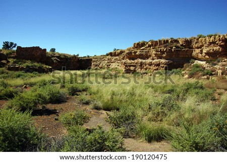 Ruins of houses of the  Lomaki Pueblo, Wupatki National Monument, Arizona