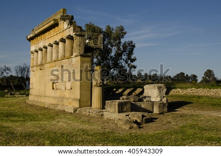 ruins of Imperial Rome in the south of 'Italy in Metaponto - stock photo