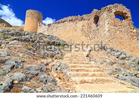 Ruins of Kastro Larissa, Venetian fortress built on hill top near Argos, Greece - stock photo