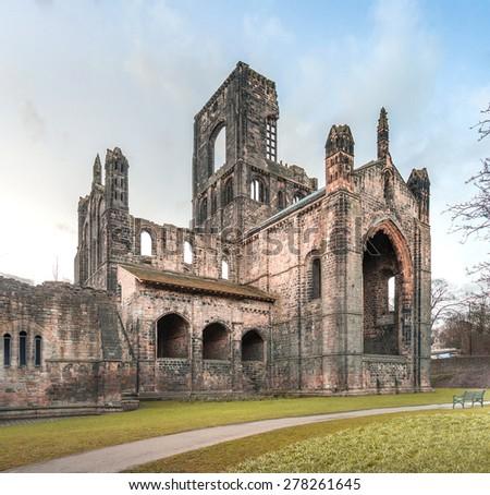 Ruins of Kirkstall Abbey in Leeds, UK - stock photo
