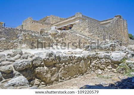 Ruins of Knossos, the archeological site, Crete Greece - stock photo