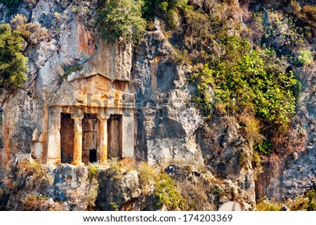Ruins of Lycian Tombs in Fethiye - stock photo