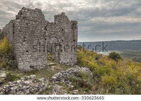 Ruins of medieval church in old town Sas (Svac)  near Ulcinj in Montenegro - stock photo