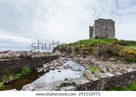 Ruins of Minard Castle, County Kerry, Ireland - stock photo
