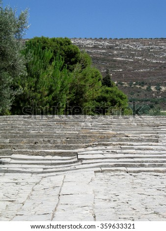 Ruins of minoan palace in Crete, Greece - stock photo