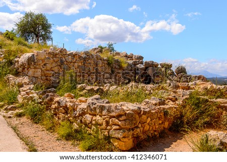 Ruins of Mycenae, center of Greek civilization, Peloponnese, Greece. Mycenae is a famous archaeological site in Greece. UNESCO World Heritage Site