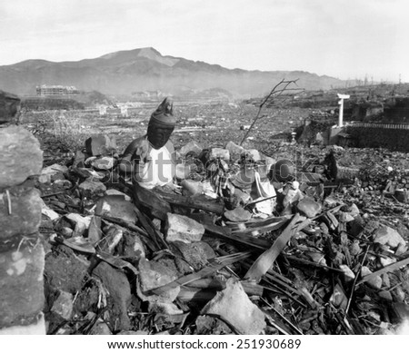 Ruins of Nagasaki, Japan, after atomic bombing of August 9, 1945. Battered religious figures are amid the rubble. Sept. 24, 1945. - stock photo