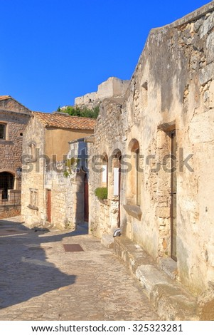 Ruins of old buildings located near the fortress of Les Baux de Provence, Provence, France - stock photo