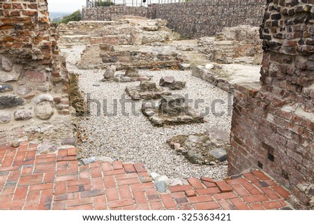 Ruins of old crusaders castel in Graudenz - stock photo