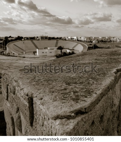 Ruins of old fortress on Mediterranean sea coast in Houmt Souk town in Tunisia. Fort Ghazi Mustapha. Old style photo