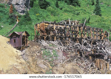 Ruins of old Silver Trust Mine in Ruby City, CO - stock photo