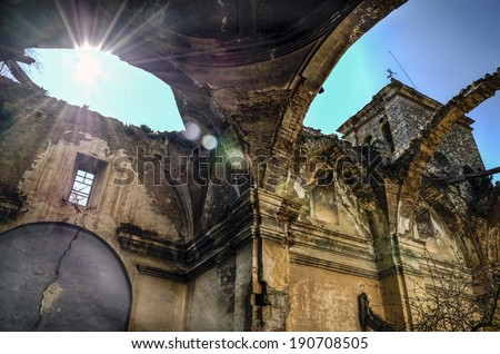 Ruins of one abandoned church  - stock photo