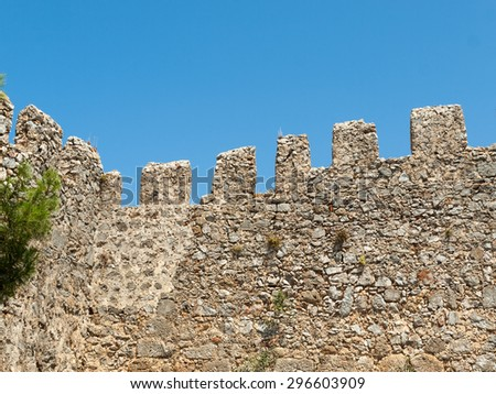 Ruins of Ottoman fortress in Alanya . Turkey.  - stock photo