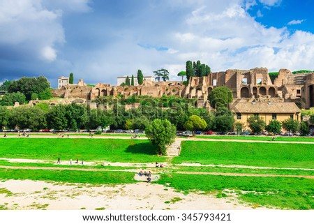 Ruins of Palatine hill palace and Circus Maximus in Rome, Italy - stock photo