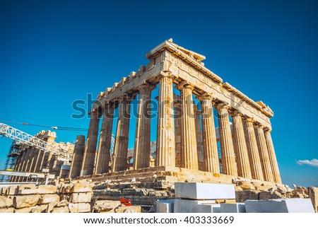 Ruins of Parthenon temple of goddess Athena in Acropolis, Athens, Greece - stock photo