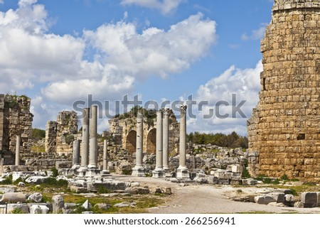 Ruins of Perge an ancient Anatolian city in Turkey. - stock photo