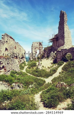 Ruins of Plavecky castle, Slovak republic, central Europe. - stock photo