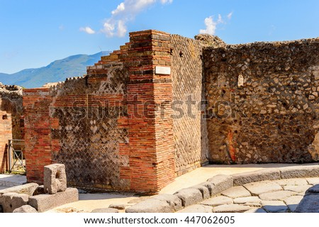 RUins of Pompeii, an ancient Roman town destroyed by the volcano Vesuvius. UNESCO World Heritage site
