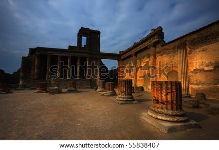 Ruins of Pompeii Italy - stock photo