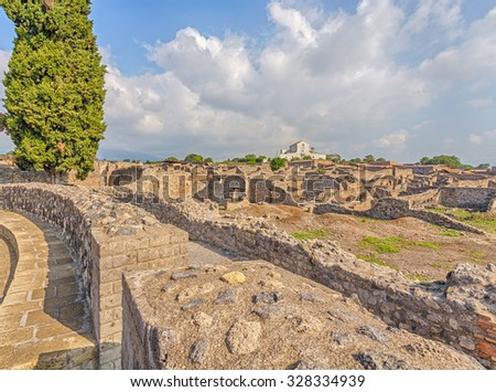 Ruins of Pompeii, Italy. Pompeii is an ancient Roman city died from the eruption of Mount Vesuvius in 79 AD.  - stock photo