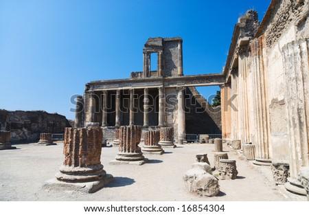 Ruins of Pompeii Italy. Ruinous columns. - stock photo