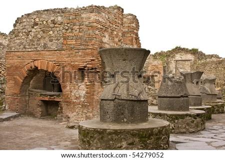 Ruins of Pompeii - the Bakery - stock photo